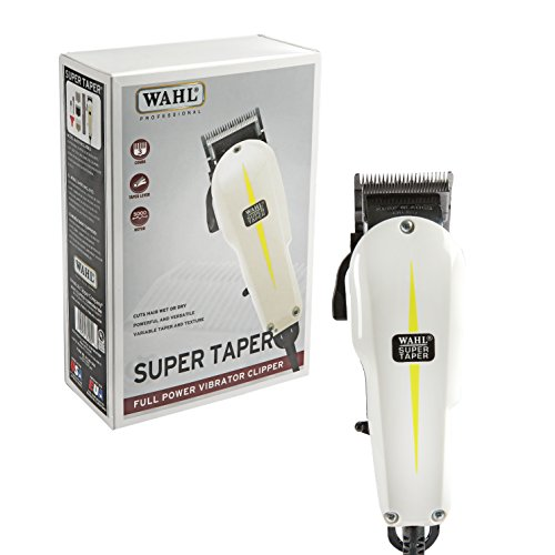 Wahl Professional Super Taper Hair Clipper #8400 – Full Power Vibrator Clipper – V5000 Electromagnetic Motor – Includes 3 Attachment Combs