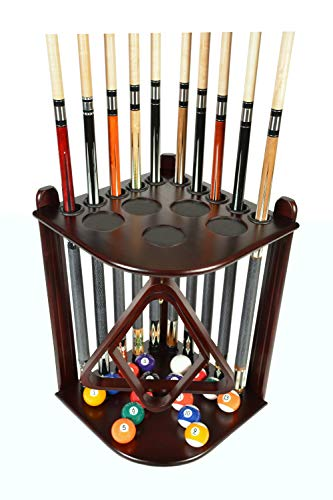 Iszy Billiards Cue Rack Only - 10 Pool - Billiard Stick & Ball Set Holder - Floor Rack Choose Mahogany, Black or Oak Finish (Mahogany)