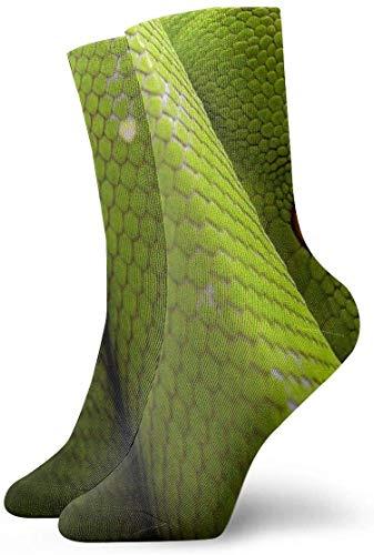 Paedto Calcetines de compresión antideslizantes Red Eye Green Snake Calcetines deportivos acogedores de 11,8 pulgadas para hombres, mujeres y niños