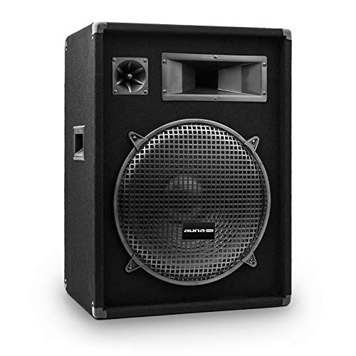 auna Pro PW - passiver PA-Lautsprecher PA-Box, 3-Wege-Bauweise, Piezo-Hochtöner, Horn-Mitteltöner, Impedanz: 8 Ohm, schwarz, Subwoofer, Belastbarkeit: 400 Watt RMS / 800 Wmax.