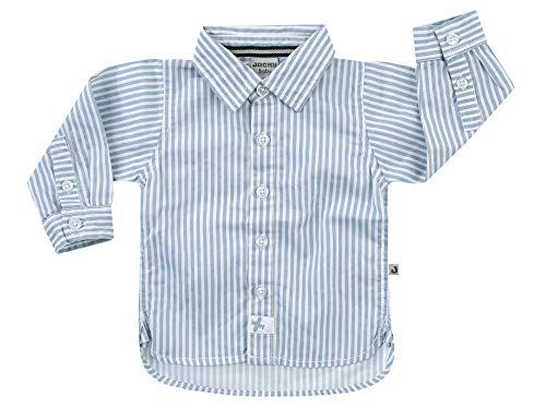 Jacky Baby Jungen Hemd Langarm festlich Baumwolle gestreift, Größe:68, Farbe:blau/Ringel