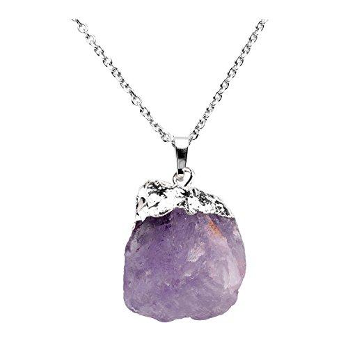 Jovivi Irregular Natural Raw Amethyst Rock Quartz Healing Crystal Gemstone Pendant Necklace