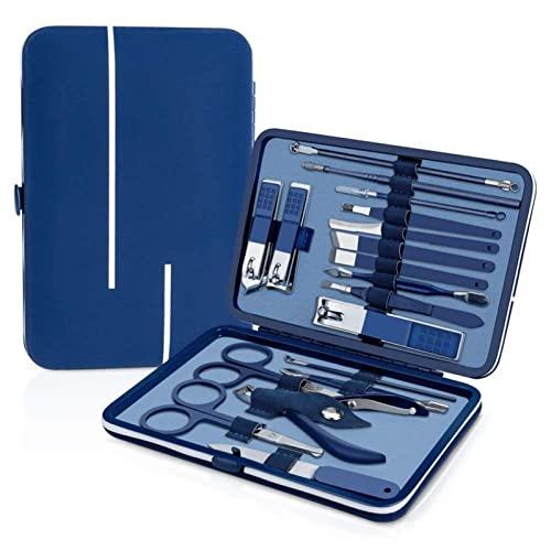 WENMENG2021 Cortaúñas 1 8pcs Set Clipper Set de uñas Kit Pedicure Steel Steel Steel Professional Manicure Set for Hombres Mujeres con Funda de Viaje de Cuero Azul Cortadores de uñas (Color : 18pcs)