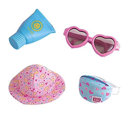 Simba 105560005 - New Born Baby Sommer Set, Sonnenhut, Brille und Cremetube, mit cooler Bauchtasche, für 38-43cm Puppen, ab 3 Jahren