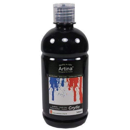 Artina Crylic Acrylfarben - hochwertige Künstler-Malfarbe in 500 ml Flaschen in Schwarz & weitere Farben