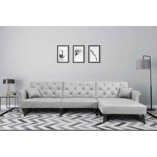 NOUVCOO Button Tufted Convertible Bed with 2 Pillows, Reversible Chaise, Sofa L Shape Sectional Couch Sleeper for Living Room Furniture, Light Gray Velvet