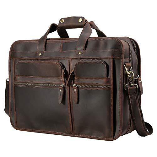 Polare Modern Business Briefcase for Men 17' Full Grain Leather Laptop Case Messenger Bag Fits 15.6'' Laptop