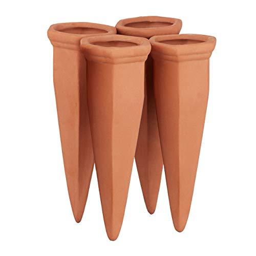 Relaxdays, Terracotta Irrigatori in Argilla per Vasi, Set da 4 Innaffiatori per Piante, per Bottiglie di Vino e Pet, Ceramica, 4 pz