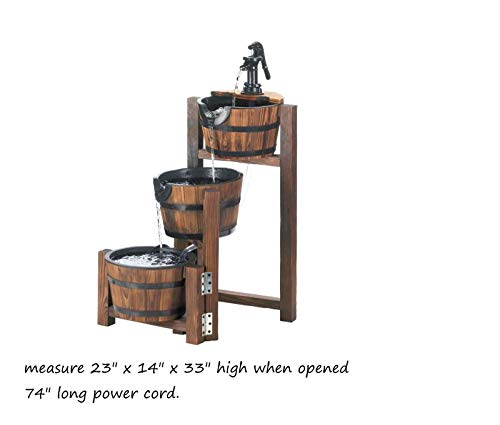 AK Energy Country Wood Whiskey Wine 3 Tier Step Barrel Outdoor Patio Pond Plant Water Fountain