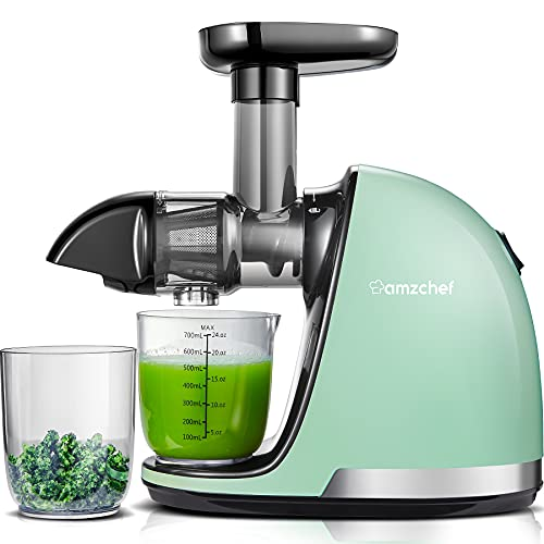 Licuadora Prensado en Frio, AMZCHEF Licuadora Frutas Verduras,Extractor de zumos con Función inversa,Motor Silencioso,fácil de limpiar con un cepillo extra (Verde)
