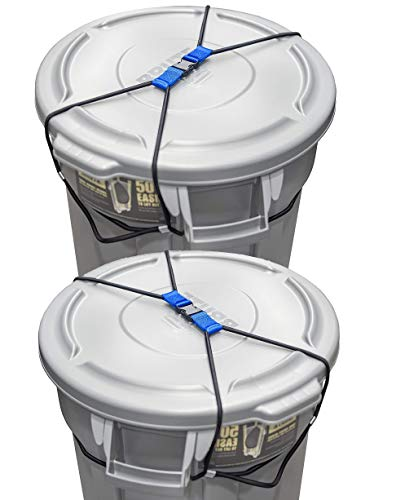 (2 Pack) Encased Trash Can Lock for Animals/Raccoons, Bungee Cord Heavy Duty Large Outdoor Garbage Lid Lock