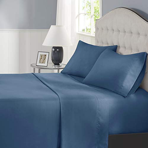 Comfort Spaces Coolmax Moisture Wicking Sheet Set Super Soft, Fade Resistant, 17' Deep Pocket, All Around Elastic - Warm Weather Cooling Sheets for Night Sweats, Queen, Teal 4 Piece