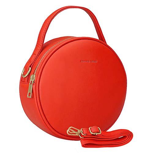 Bolsa de mujer juvenil ROUND SQbags. Bolsa de dama mediana original y moderna, ideal para salidas rápidas, paseos y ocasiones especiales. Color mate moderno(ROJO)