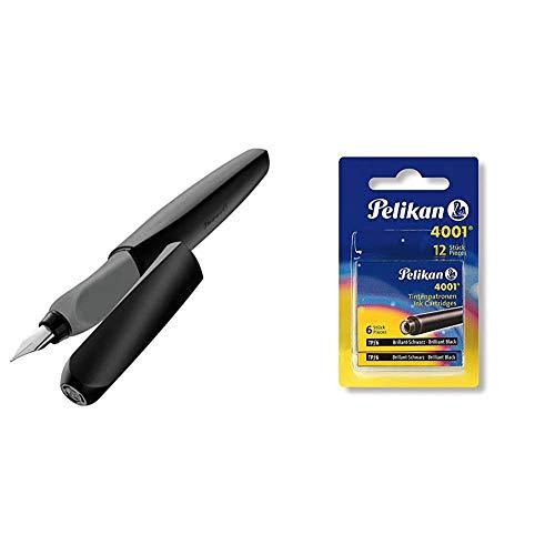 Pelikan 946806 - Pluma estilográfica Twist cartucho de tinta azul incluido, mango ergonómico + 4001 - Recambios de tinta para pluma estilográfica (12 unidades), color negro brillante