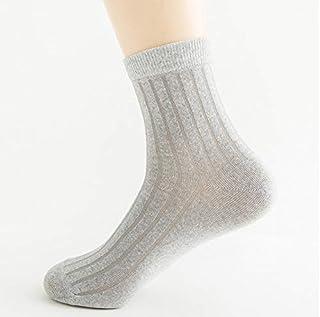5 pares de calcetines de algodón para hombre de color gris calcetines de rayas finas rectas transpirables calcetines blancos y negros de los hombres