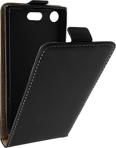 Baluum Hülle Kunstleder Flip Hülle für Sony Xperia XZ1 Compact Schwarz mit Einer Silikon Schale - aufklappbare Lederhülle Schutzhülle Cover (Leder Flip Schwarz)