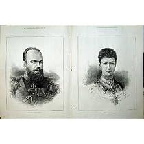 1883 旧式な肖像画のアレキサンダー皇帝のロシアの皇后