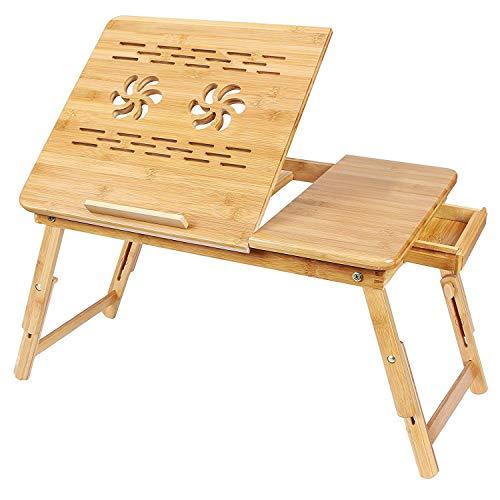 SogesHome 53 x 33 cm Mesa de Soporte para computadora portátil con cajón Bambú, Mesa de Regazo Ajustable, inclinación Superior, Mesa Plegable con Bandeja para Cama, KS-HSJ-06-SH