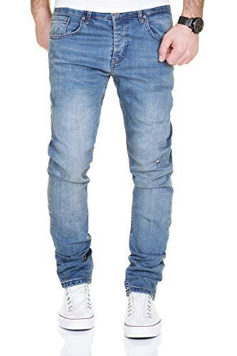Merish 2081-1001 Jean Destroyed, pantalon slim, en denim, pour homme, coupe ajustée - Bleu - 34W x 32L