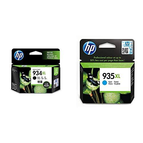 HP C2P23AE 934XL Cartucho de Tinta Original de Alto Rendimiento, 1 Unidad, Negro + 935XL C2P24AE, Cian, Cartucho de Tinta de Alta Capacidad Original