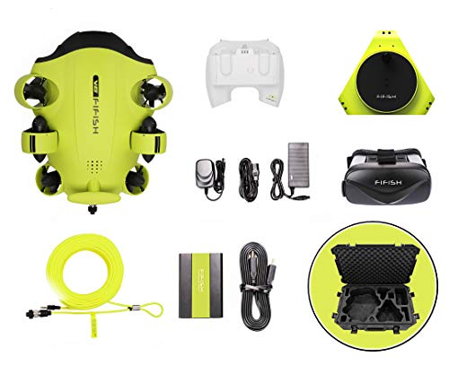 QYSEA FIFISH V6 Underwater Drone + VR Box + 100M Cable + Spool + 64GInternal Storage + HDMI Box + Industrial Case Bundle