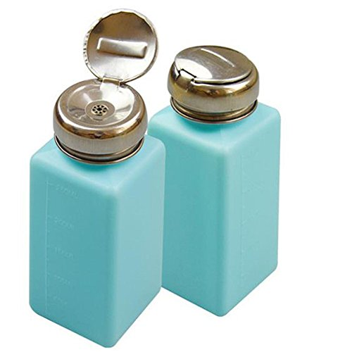 KEAIYYJ Alcohol Bottle Metal One-Touch Liquid Dispenser Pump Square Push Down Container for Acetone Nail Polish Makeup Remover Empty Plastic 2 Pack 250ml/8.4oz (Blue)