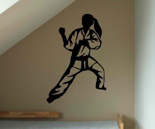 Wandtattoo Judo Kämpfer Kampf Japan Tattoo Sticker Aufkleber Wand Portrait 5G029, Farbe:Braun Matt;Hohe:40cm