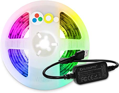Smart ZigBee LED Controller with RGBWW LED Strip Light 6.56ft USB Powered,Work with Hue Bridge,Lightify Hub and Amazon Echo Plus for APP/Voice Control RGB Cold White Warm White LED Strip by GIDERWEL