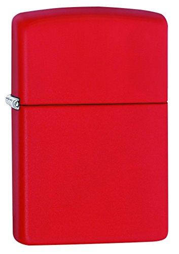 Zippo 233 Rosso Matte Accendino Antivento, Ricaricabile a Benzina, Ottone, Regular 5.7 x 3.7 x 1.2 cm