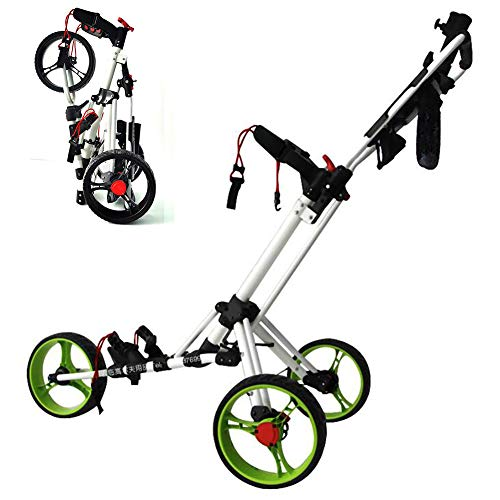 Affordable ANJING Golf Push Cart 3 Wheel, Folding Golf Trolley with Foot Brake Umbrella Stand Cup Ho...