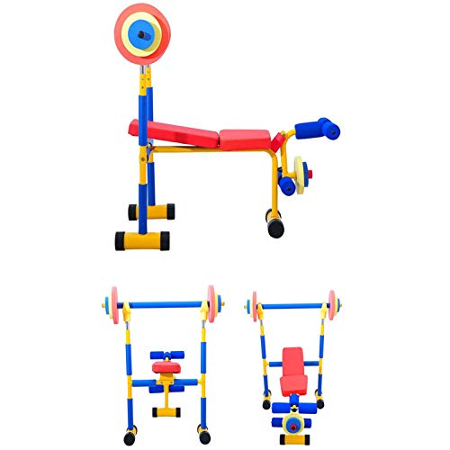 DIDIAN Kids Weight Bench Set,Weight Bench with Barbell,Multi-Functional Bench,Adjustable Ab Sit Up Bench,Bench Press,Children Exercise Equipment