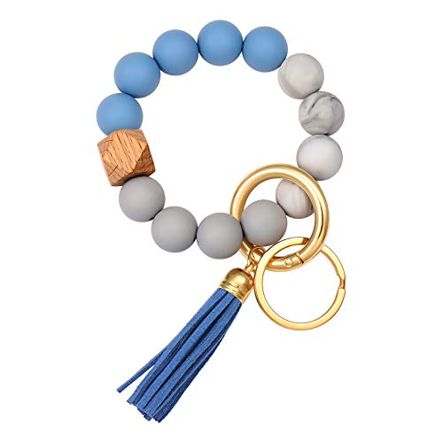 Boderier Silicone Bracelet Keychain Key Ring Elastic Silicone Bead Wristlet Keychain Bracelet Bangle Portable House Car Keys Ring Holder W/ Tassel (Blue)