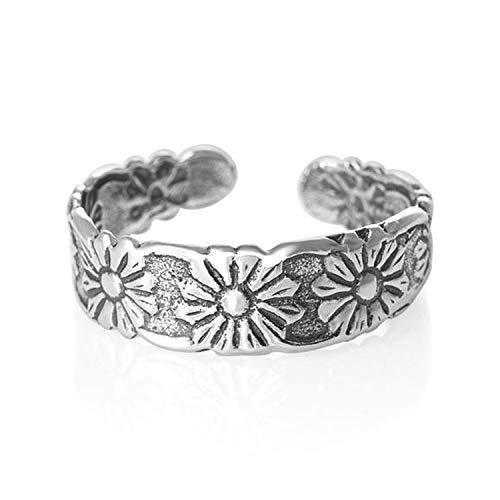 Flor de plata de ley para dedo del pie anillo–Pretty para dedos anillos