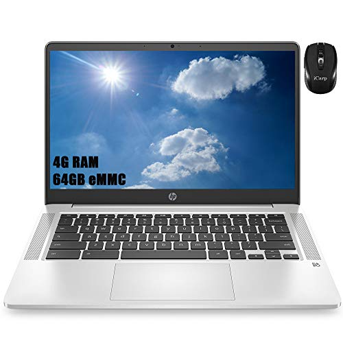Flagship HP 14 Pentium Chromebook Laptop 14' HD SVA Display Intel Quad-Core Pentium Silver N5000 4GB DDR4 64GB eMMC Type-C B&O Play Webcam HP Fast Charge Chrome OS + iCarp Wireless Mouse