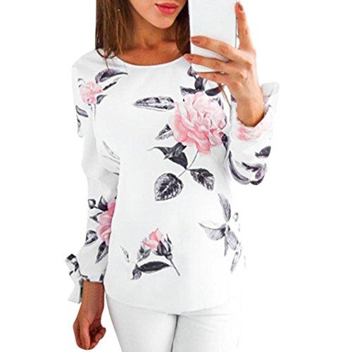 URSING Herbst Bluse Damen Langarm Shirt Pullover Super Gemütlich Floral Splice Printing Rundhals Tops Elegantes charmantes T-Shirt Oberteil mit Einzigartig Niedlich Bogen auf der Hülse (M, Weiß)
