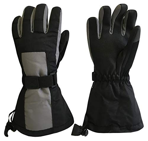 Image of N'Ice Caps Kids Extreme Cold Weather 100 Gram Thinsulate Waterproof Ski Gloves (Black/Charcoal, 9-10 Years)