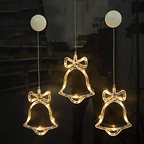 Kompassswc LED Fensterlicht Fensterbild Saugnapf Weihnachtsdeko batteriebetrieben Fenstersilhouette Schelle Form led Weihnachtsbeleuchtung für Kinderzimmer Schaufenster Party (3 Stück)