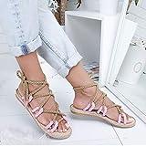 XXZ Sandalias Mujer Verano Planas Piel Chanclas Punta Abierta Plataformas Bajo Zapato De Playa Piscina Al Aire Libre Moda Fiesta Bohemias,Rosado,37