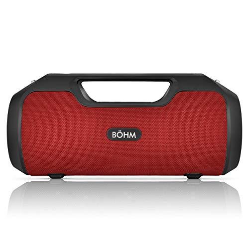 BÖHM Impact Plus Wireless Bluetooth Speaker Water Resistant IPX4 40W Premium HD Sound Powerbank Dual Pairing TWS Stereo - Red/Black