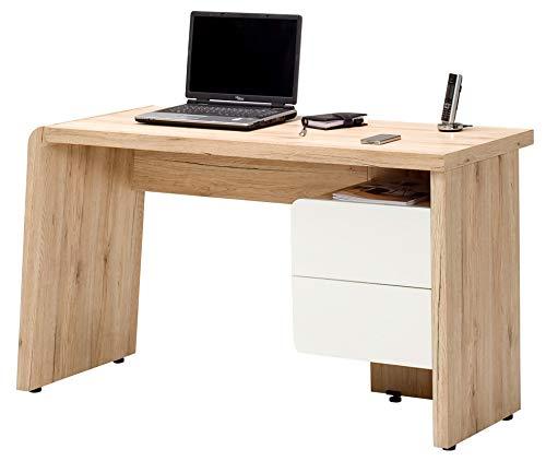 Amazon Marke -Movian Maggiore - Schreibtisch mit 2 Schubladen, 130x50x75cm, Weiß-/San Remo-Eichen-Effekt