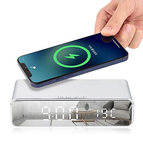 Cargador InaláMbrico para Reloj Despertador EléCtrico Led, Reloj De Tarjeta De Carga De TeléFono con TermóMetro Digital, Espejo De Reloj De Alta DefinicióN con Memoria De Tiempo