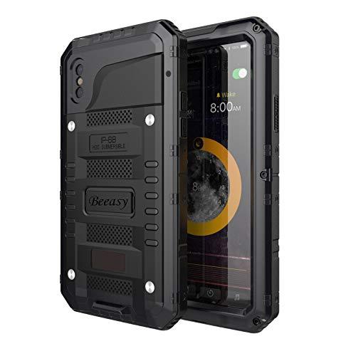 Beeasy Hülle Kompatibel mit iPhone XS/X, Wasserdicht Stoßfest Outdoor Handy Hülle Militärstandard Schutzhülle mit Bildschirmschutz Robust Metall Schutz vor Stürzen Stößen Heavy Duty Handyhülle,Schwarz