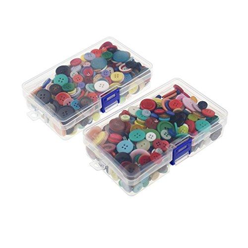 lot de deux boîtes de boutons ronds à 2 et 4 trous (1000)pour artisanat, assortiment de couleurs et de tailles avec boîtes de rangement en plastique transparent