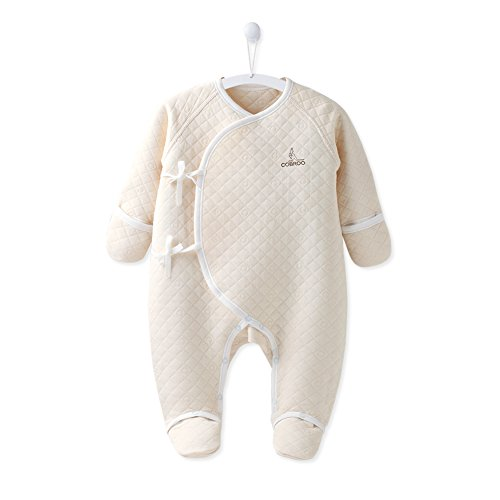 COBROO 100% Cotton Baby Footie Pajamas with Mittens Side-Belt Infant Footed Sleeper Cozy Warm Baby Outfits 0-3 Months Khaki
