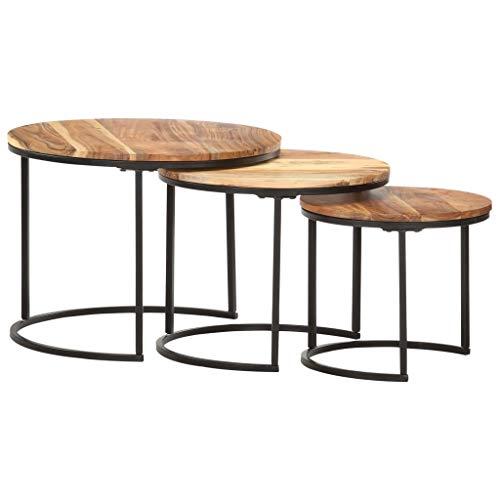 Tidyard 3er Set Couchtisch Satztische Satztisch-Set Beistelltisch in verschiedenen Größen aus massivem Akazienholz,Wohnzimmertisch Tischset Tisch Runder Seitentisch Sofatisch Kaffeetisch Tisch-Set