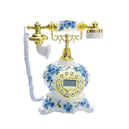 FHISD Teléfono Antiguo, teléfono Rotación de teléfono Antiguo Botón pulsador de Oficina Retro Decoración de teléfono Retro Cordón Rizado y Timbre Tradicional Tono Dormitorio Salón Decoración de es