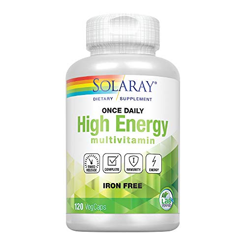 Solaray High Energy Multivitamin | Once Daily  Timed-Release Formula | Whole Food & Herb Base | Non-GMO (120 CT Iron-Free)