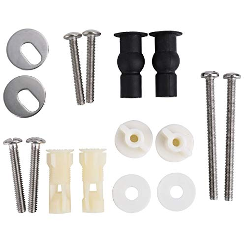 Cosybreeze Universal Toilet Seats Screws and Bolts Metal - Toilet Seat Cover Hinges Bolt Screws - Fixings Expanding Rubber Top Cover Lip Nut Mount Screw Replacement Parts Kit(3 Choices)