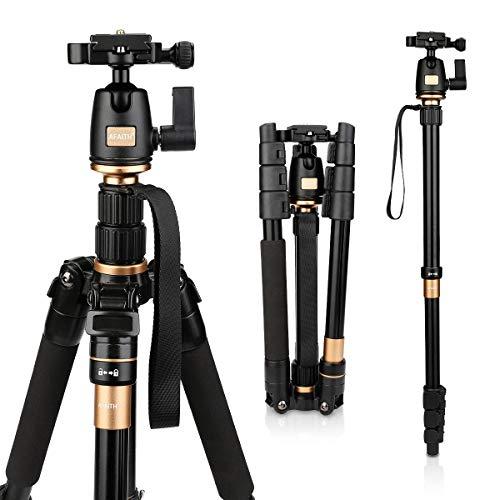 AFAITH Professional Stativ Tragbare Magnesium-Aluminiumlegierung Stativ Monopod & Kugelkopf für SLR-Kamera SLR Kamera Canon Nikon Pentax Sony Tripod Q-555 AF001