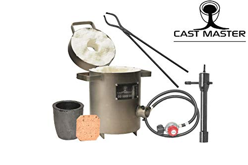 Cast Masters Propane Furnace w 5KG Crucible and Tongs Kiln Smelting Gold Silver Copper Scrap Metal Recycle